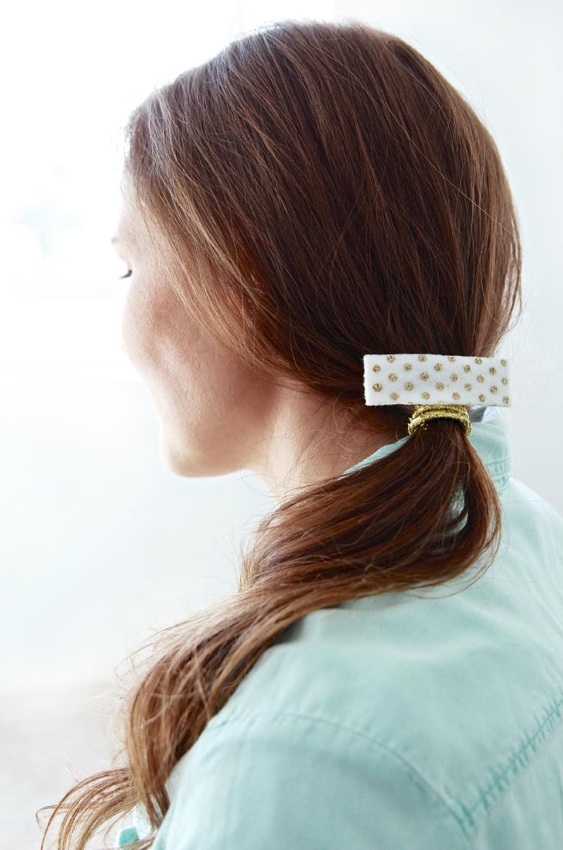How to make this EASY Gold Dot Hair Clip at PagingSupermom.com #modpodgerocks #gold #hair