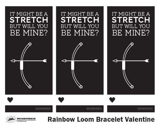 Free printable Rainbow Loom Valentine Template