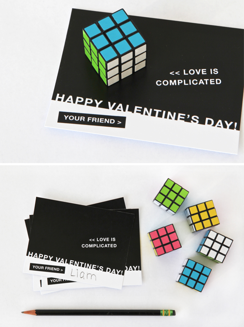 Cute Boys Valentine with a mini Rubik's Cube at PagingSupermom.com #valentines