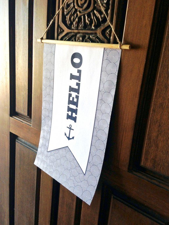 Hello Door Sign for Nautical Party at PagingSupermom.com #nautical #partydecor