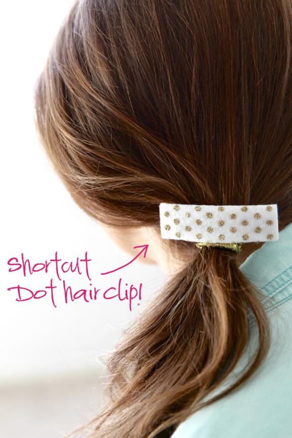 Shortcut for making this adorable Gold Polka Dot Hair Clip at PagingSupermom.com #hair #gold