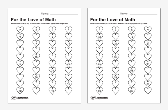 math worksheet : valentines skip count math worksheets : Counting On Math Worksheets