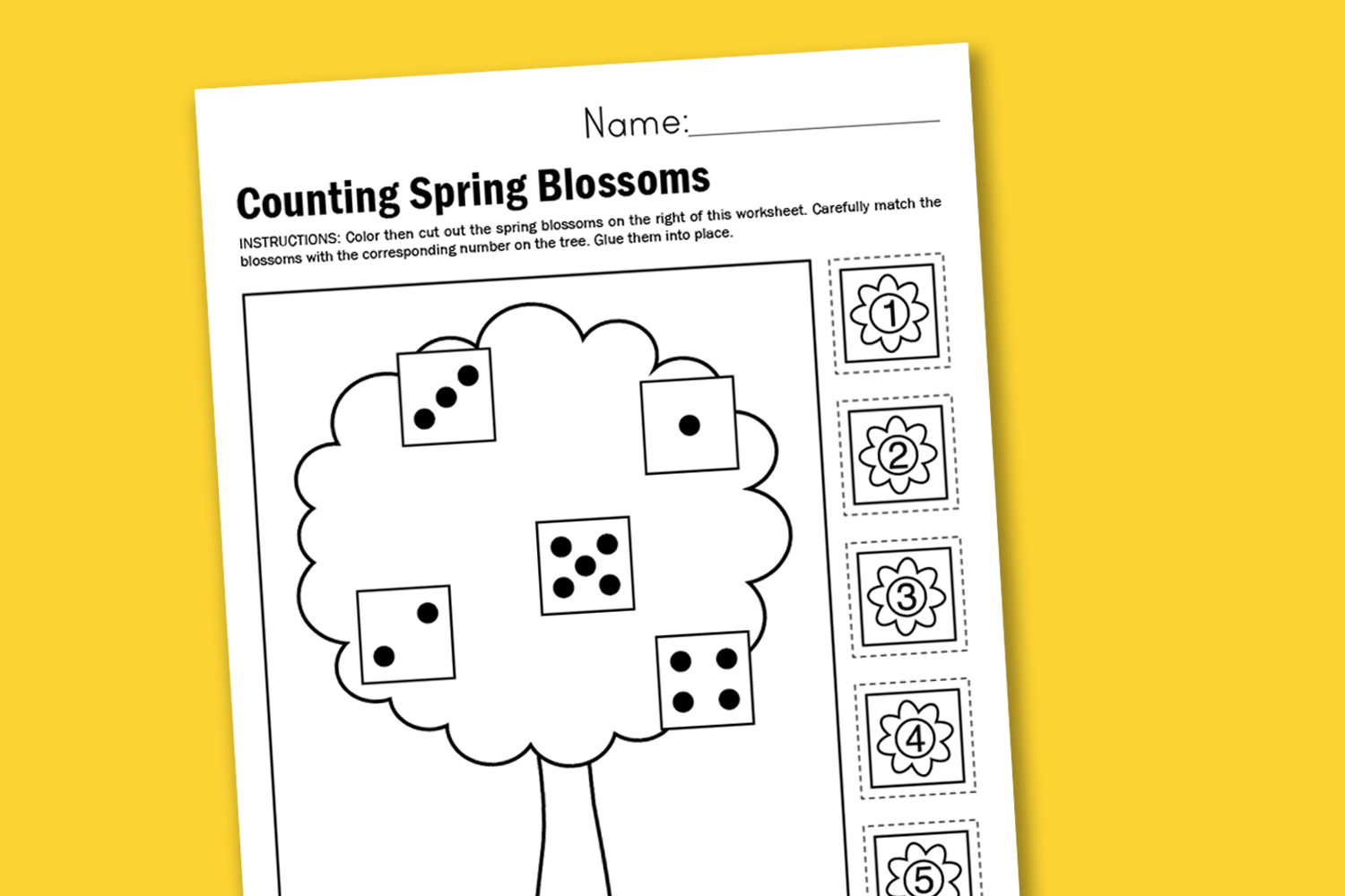 Counting Spring Blossoms Free Printable