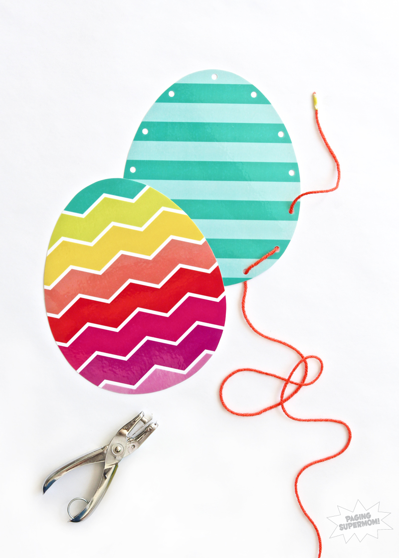 Free Printable Easter Egg Lacing Activity via @PagingSupermom