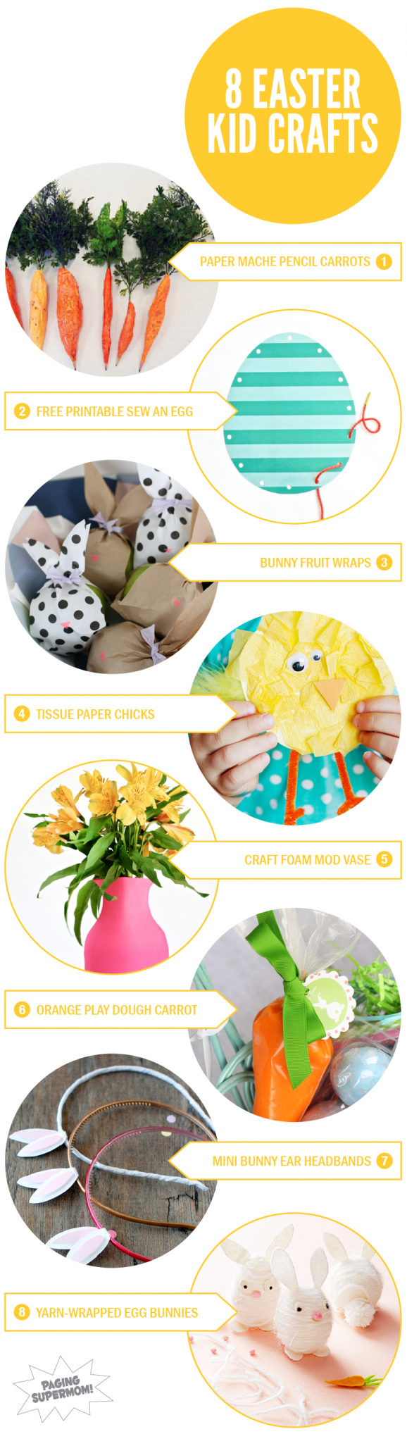 8 Easter Crafts for Kids via @PagingSupermom #kidscrafts #easter