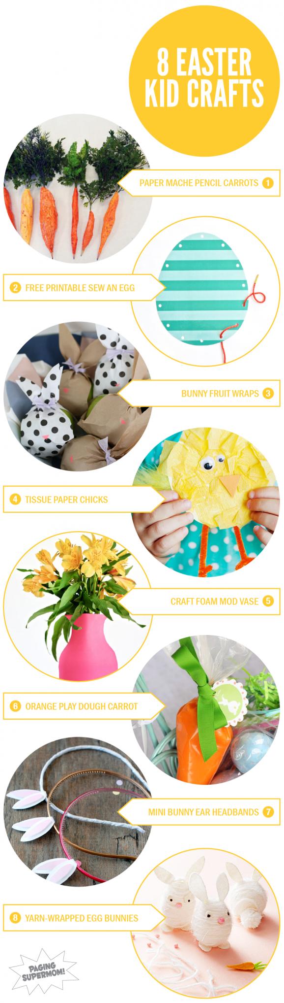 8 Easter Crafts for Kids via @PagingSupermom #kidscrafts #easter