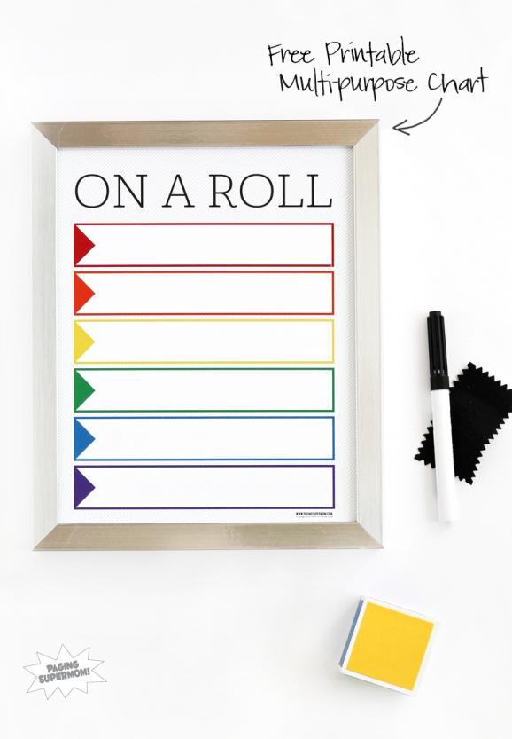 Free Printable Multi-Purpose Dry Erase Chart via @PagingSupermom.com