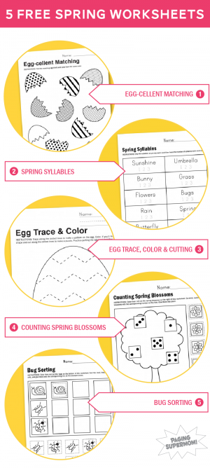 Five Free Printable Worksheets for Spring from @PagingSupermom