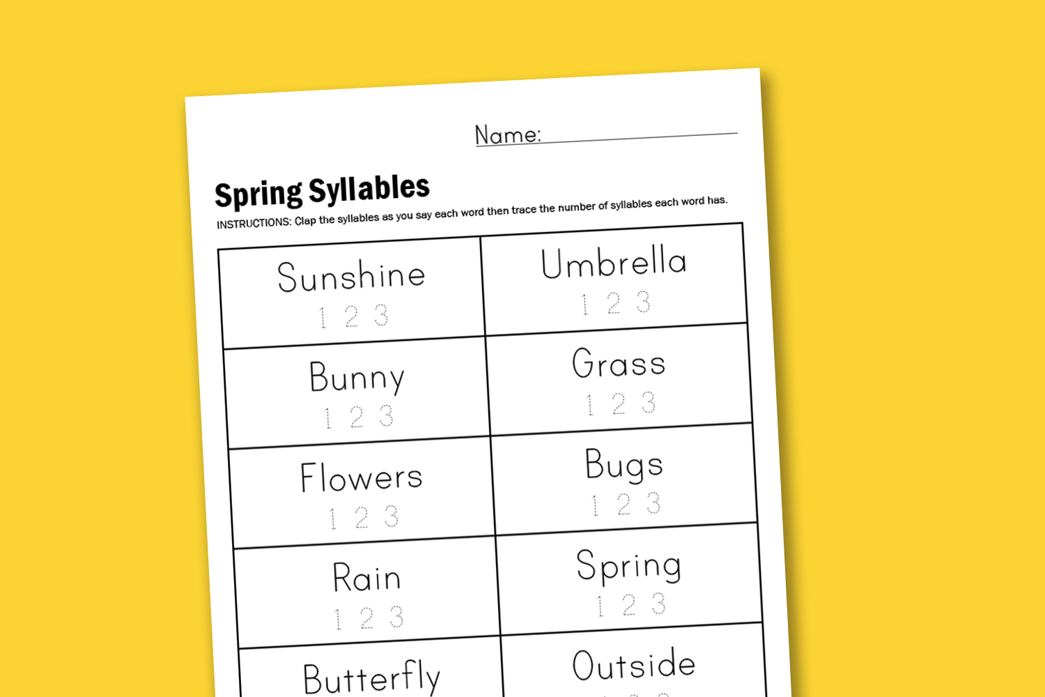 Worksheet Wednesday: Spring Syllables - Paging Supermom