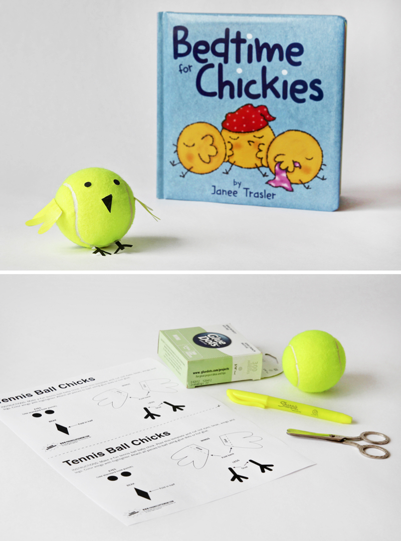 Free Printable to Make these Cute Tennis Ball Baby Chicks via @PagingSupermom