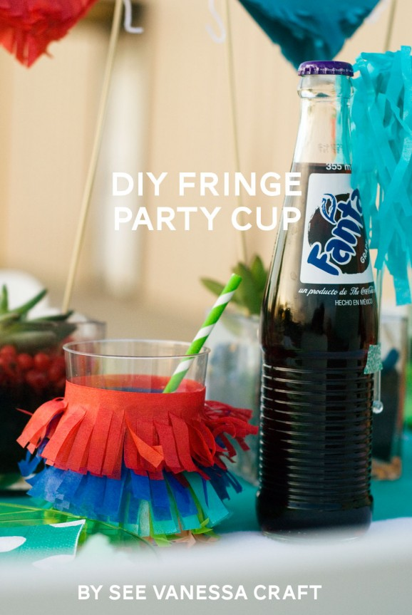 DIY Fringe Party Cup via @PagingSupermom #ThePartyHop