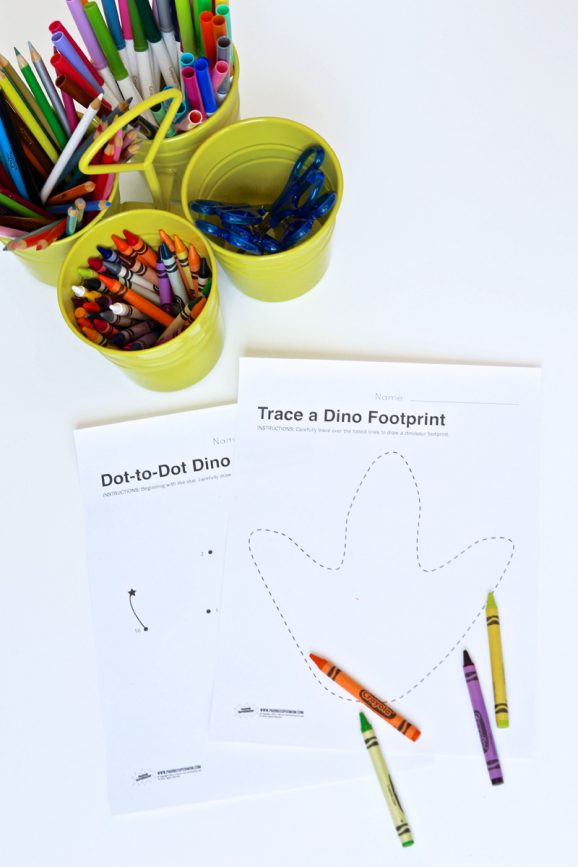 Free Printable Dinosaur Worksheets and Coloring Pages via @PagingSupermom
