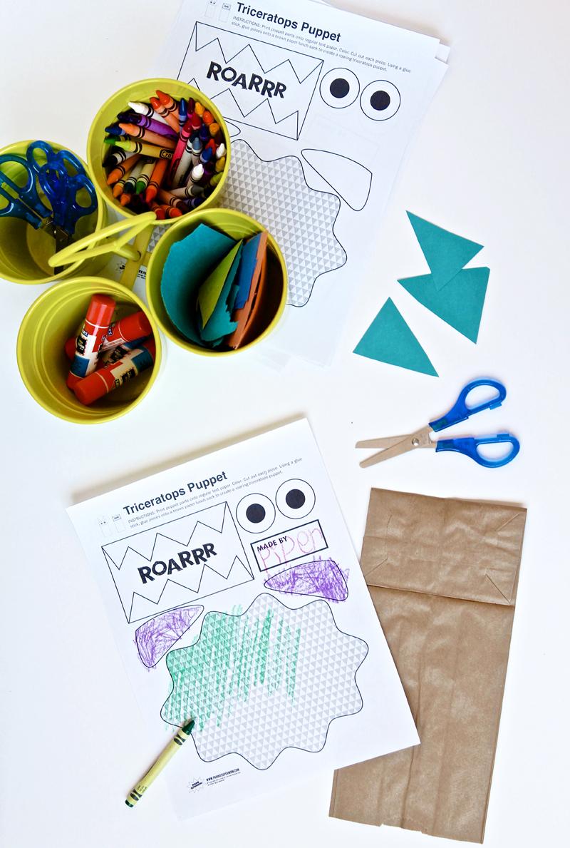 Free Printable Puppet Dinosaur Kids Crafts