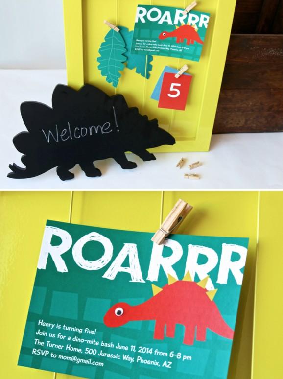 Dinosaur Party Invitations coordinate with Meri Meri ROARRR dinosaur party via @PagingSupermom