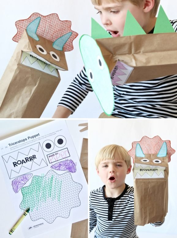 Free Printable Dinosaur Puppets for kids via @PagingSupermom
