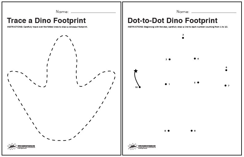 dinosaur footprint tracing and dot to dot worksheets paging supermom. Black Bedroom Furniture Sets. Home Design Ideas