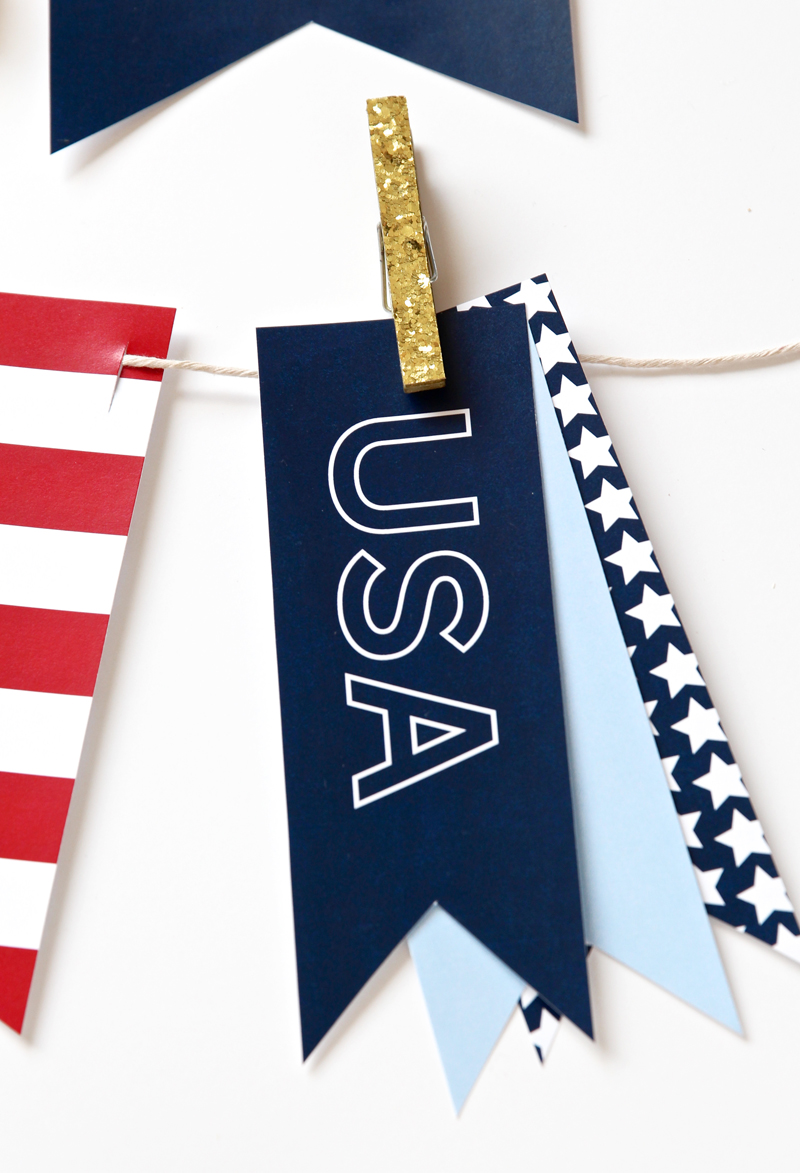USA Pennants for a Patriotic Bunting for July 4th via @PagingSupermom