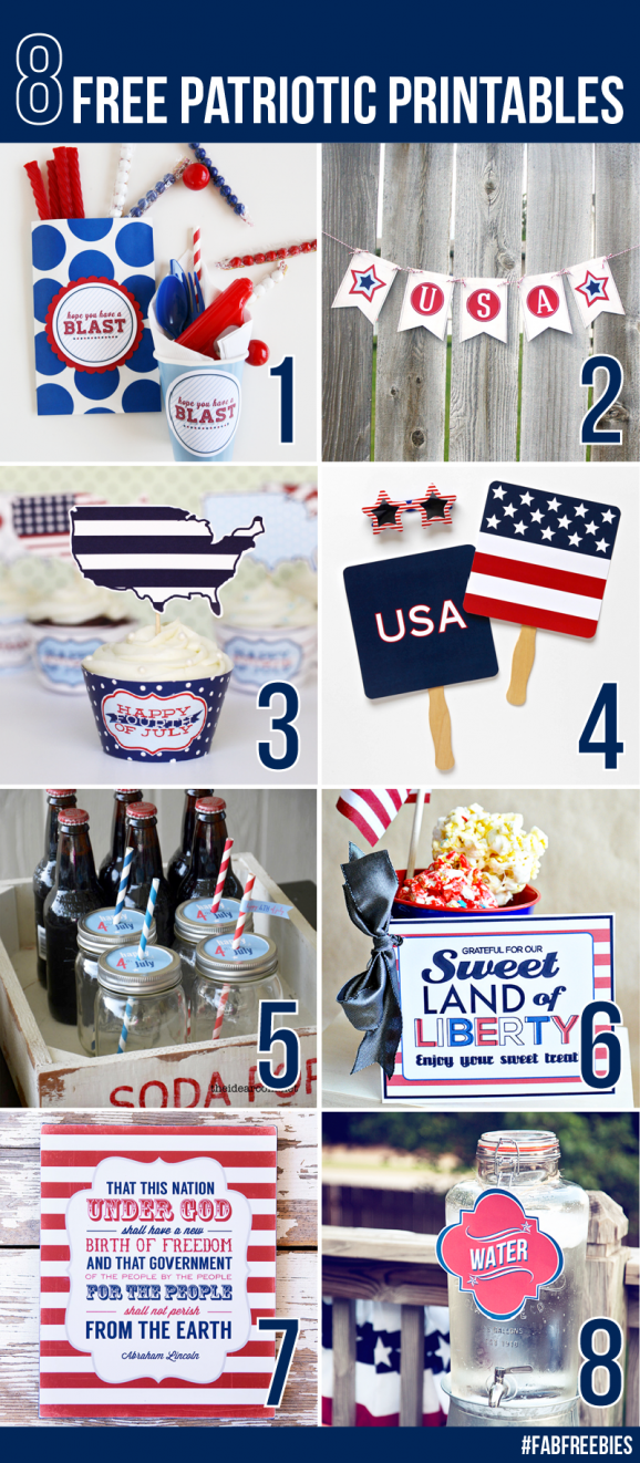 8 Free Printables for the Fourth of July via @PagingSupermom #fabfreebies