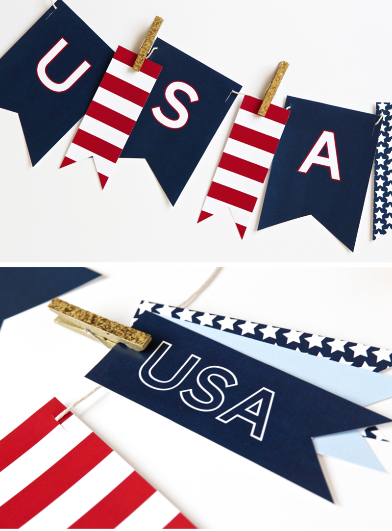 Free Printable July Fourth Banner says USA for the Fourth of July via @PagingSupermom