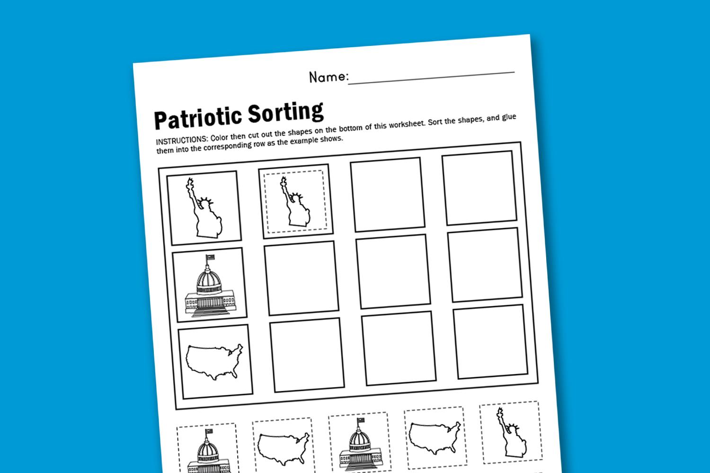 worksheet wednesday patriotic sorting paging supermom. Black Bedroom Furniture Sets. Home Design Ideas