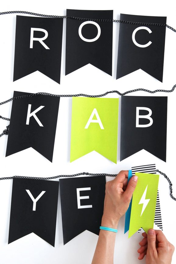 Rock Star Baby Shower - Printable Rock-A-Bye Banner - love that they strung it on chain @PagingSupermom