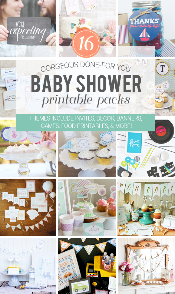 Download the Ultimate Baby Shower Printables Bundle with FOURTEEN different themed packs for the most popular baby shower themes via @PagingSupermom #babyshower #printables
