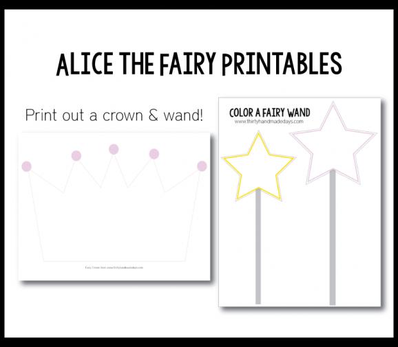 Cute Printables to go with the Alice the Fairy Book via @PagingSupermom