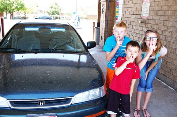 Surprise Car Wash for Dad to go along with Scrubbly Bubbly Car Wash Book