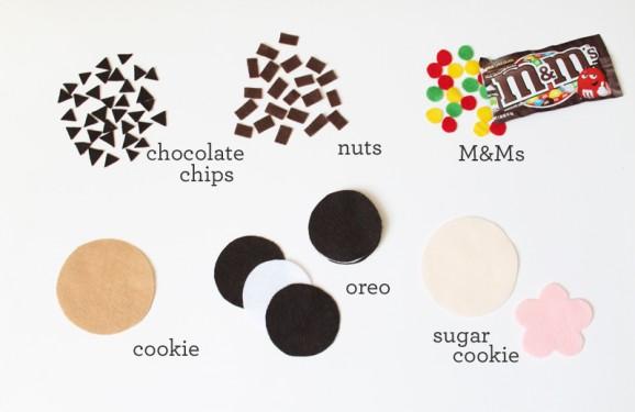 felt cookie pieces