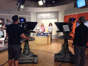 Bettijo on set at Studio 5 - KSL in Salt Lake City sharing the @PagingSupermom Back to School Breakfast #freeprintables