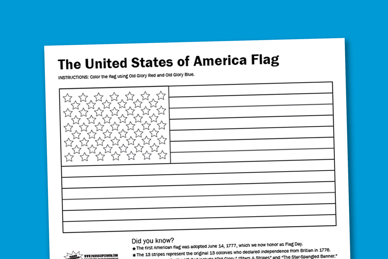 printable american flag coloring page - worksheet wednesday usa flag coloring page paging supermom