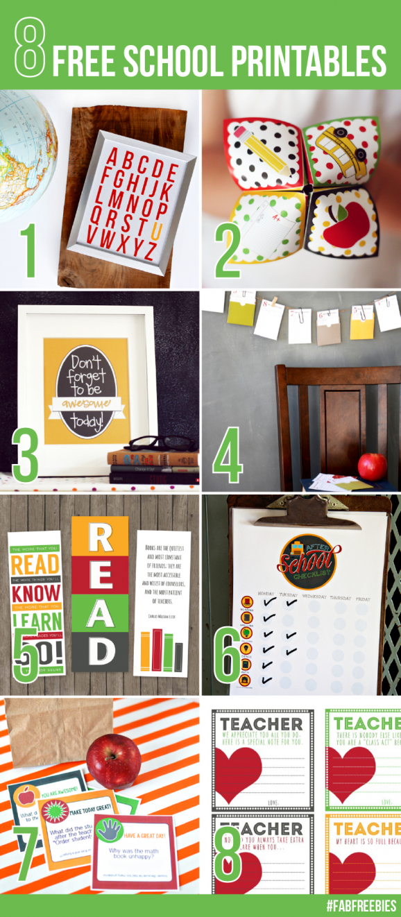 Eight #FreePrintables for Back to School via @PagingSupermom #FabFreebies