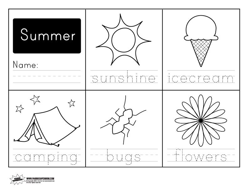 printable summer handwriting worksheet paging supermom. Black Bedroom Furniture Sets. Home Design Ideas