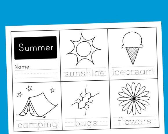 Worksheet Wednesday: Summer Handwriting