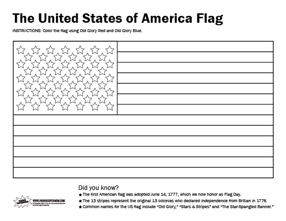 Printable usa flag coloring page paging supermom for Coloring page of the american flag