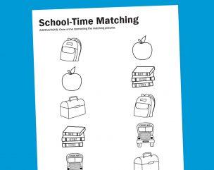 Worksheet Wednesday: School-Time Matching