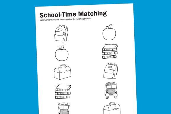 Printables Free Printable Back To School Worksheets worksheet wednesday school time matching paging supermom free printable back to watching for preschool