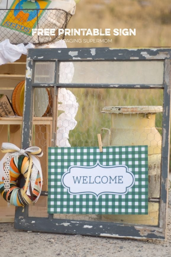 "Free printable ""Welcome"" sign for a Market Party via @PagingSupermom"