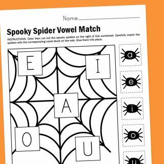 Worksheet Wednesday: Spooky Spider Vowel Match