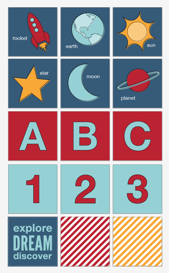 Free Graphics for Rocket & Space themed  nursery decor you can print at Shutterfly via @PagingSupermom
