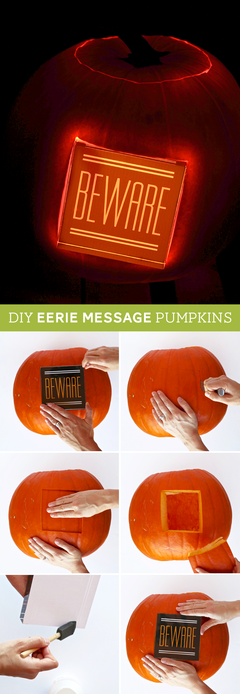 Put a fun, glowing spooky message in your pumpkin -- this looks EASY! Tutorial @PagingSupermom #shutterflydecor