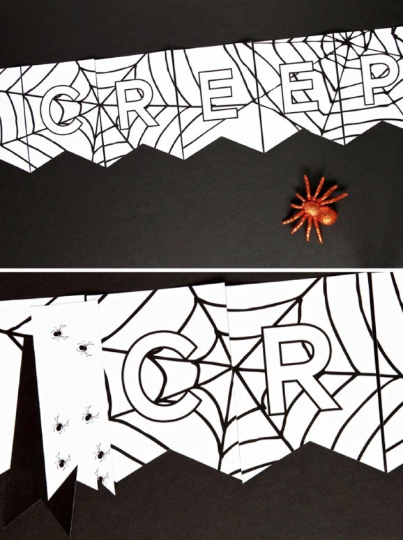Love this FREE Printable Creepy Banner  -- choose black or white versions. Perfect for #Halloween @PagingSupermom #freeprintables