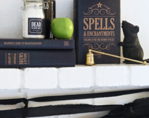 DIY Spell Books for a Darling Witch Halloween Mantle