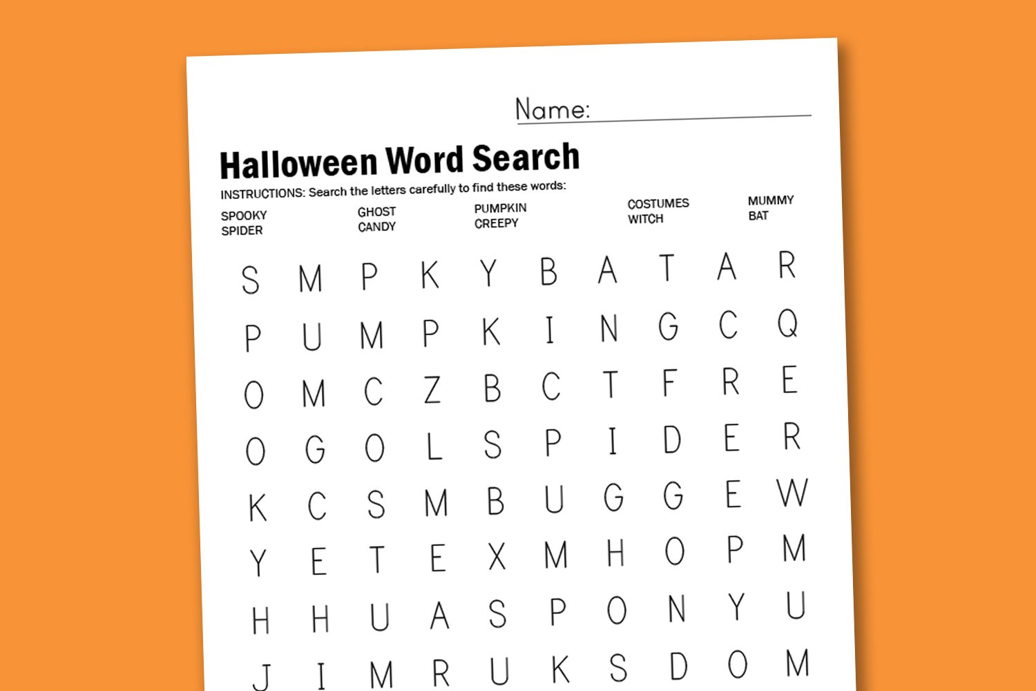 Worksheet Wednesday: Halloween Word Search