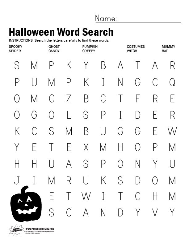reader interactions - Printable Halloween Word Searches