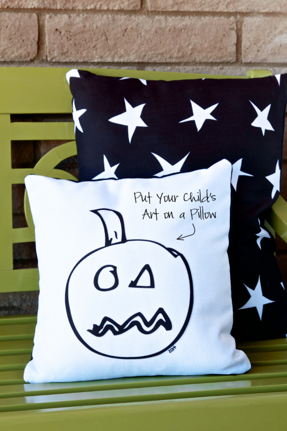 Love this idea -- put your kid's spooky drawings on a pillow to display at #Halloween. Get the pillow printed @Shutterfly. Download free coordinating graphics via @PagingSupermom #ShutterflyDecor
