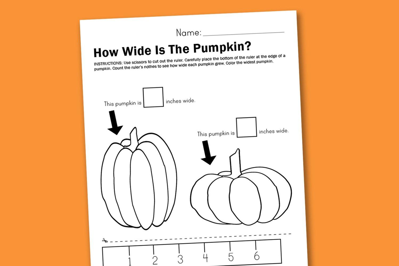 worksheet wednesday measuring pumpkins paging supermom. Black Bedroom Furniture Sets. Home Design Ideas