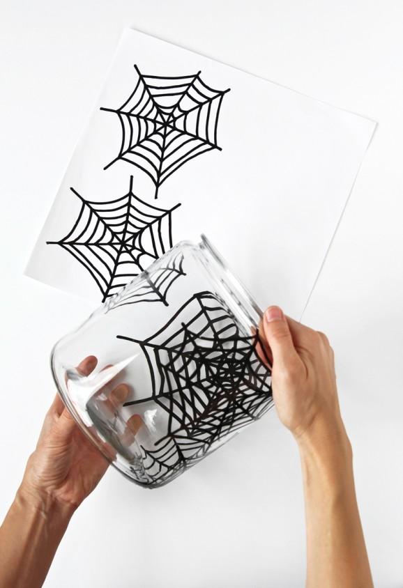 DIY Spooky Spider Web Jar -- FREE #Cricut cut file from @PagingSupermom #Halloween