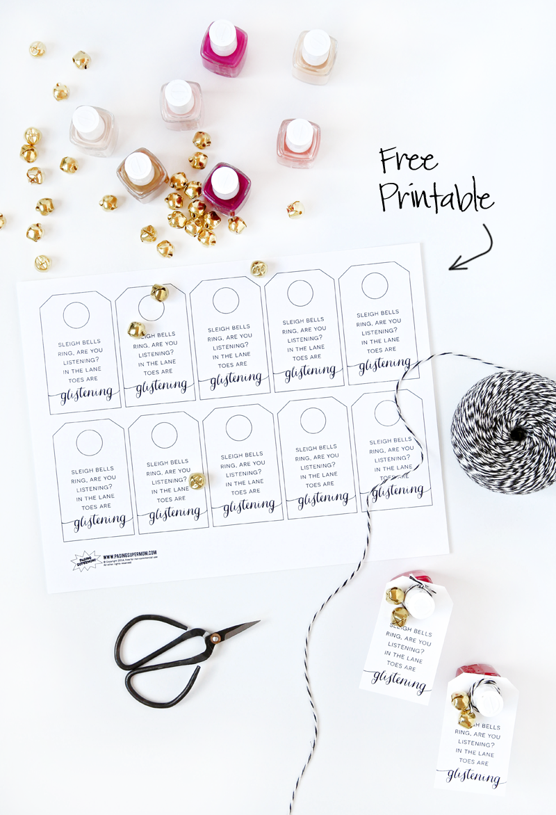 Free Printable Tag for Nail Polish Christmas Last Minute Gift