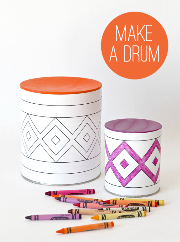 Thanksgiving Kids Craft Ideas - Make a colorful Tin Can Drum - get the free template!